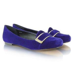 Rachel Zoe Lily Cobalt Blue Velvet Moccasin Flats